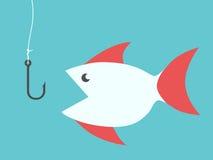 Peixes e gancho de pesca Fotos de Stock Royalty Free
