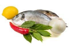 Peixes e legumes frescos. Imagens de Stock
