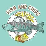 Peixes e microplaquetas 2 Ilustração do Vetor