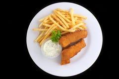 Peixes e microplaquetas fritados Fotos de Stock