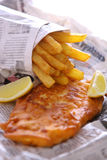 Peixes e microplaquetas a takeout Foto de Stock Royalty Free
