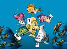 Peixes e números Imagens de Stock Royalty Free