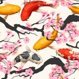 Peixes e sakura de Koi sem emenda Fotografia de Stock Royalty Free