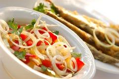 Peixes e salada Fotos de Stock Royalty Free
