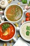 Peixes e tomate da sopa do creme do mashroom das bacias de sopa na bacia com crou Fotos de Stock