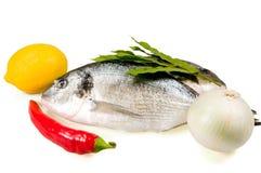 Peixes e vegetais Fotografia de Stock