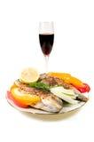 Peixes e vinho fritados. Imagens de Stock Royalty Free