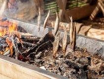 Peixes em varas sobre carvões quentes, fumo natural dos peixes fotografia de stock