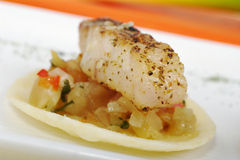 Peixes em vegetais Imagem de Stock Royalty Free