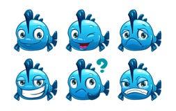 Peixes engraçados do azul dos desenhos animados ilustração stock