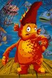 Ilustração do estilo dos desenhos animados do caráter do oceano dos peixes Fotos de Stock