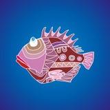 Peixes engraçados em um fundo azul Fotografia de Stock Royalty Free