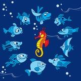 Peixes engraçados em um fundo azul ilustração royalty free