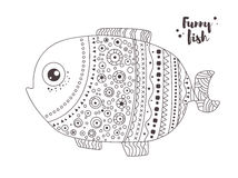Peixes engraçados Livro de coloração Imagens de Stock