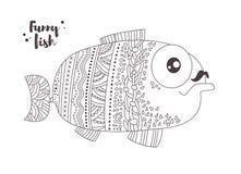 Peixes engraçados Livro de coloração Foto de Stock