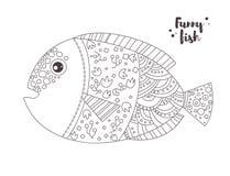 Peixes engraçados Livro de coloração Fotografia de Stock Royalty Free