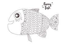 Peixes engraçados Livro de coloração Foto de Stock Royalty Free