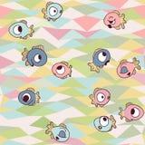 Peixes engraçados no fundo geométrico sem emenda Fotos de Stock Royalty Free