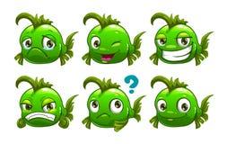 Peixes engraçados do verde dos desenhos animados Imagens de Stock