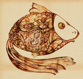 Peixes - entre os peixes pequenos das escalas ilustração stock