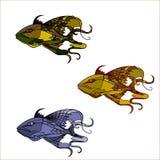 Peixes fantásticos do vintage com o bigode longo no estilo dos desenhos animados Fishs antigos ajustados Fotos de Stock