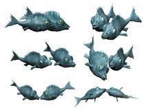 Peixes fantásticos em pares que beijam ilustração stock