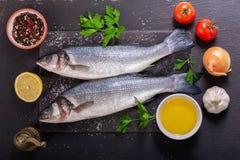 Peixes frescos com os ingredientes para cozinhar, vista superior fotos de stock