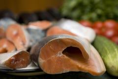 Peixes frescos dos salmões vermelhos Fotografia de Stock