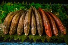 Peixes frescos na exposição Foto de Stock Royalty Free