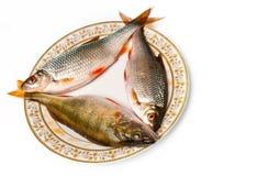 Peixes frescos na placa imagens de stock