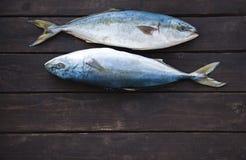 Peixes frescos no fundo de madeira Foto de Stock Royalty Free
