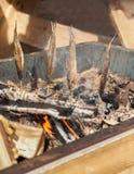 Peixes frescos que fumam sobre carvões quentes, foco vertical, seletivo imagem de stock