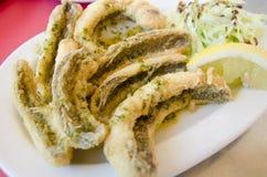 Peixes fritados com limão e salada. (Peixes da aranha) Foto de Stock Royalty Free