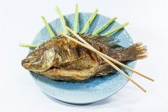 Peixes fritados no fundo branco Fotos de Stock Royalty Free