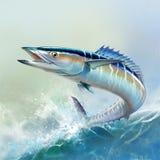 Peixes grandes da cavala espanhola no fundo da ilustração realística das ondas ilustração do vetor