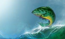 Peixes grandes da garoupa atlântica de goliath na água ilustração royalty free