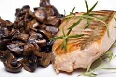 Peixes grelhados, bife salmon fotos de stock royalty free