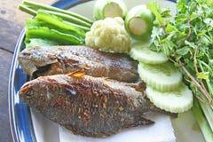 Peixes grelhados com vegetal imagens de stock royalty free
