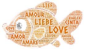Peixes ilustrados com palavra do amor Imagem de Stock Royalty Free