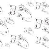 Peixes marinhos sem emenda monocromático Imagem de Stock