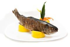 Peixes na placa Fotografia de Stock