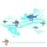 Peixes nas ondas Fotografia de Stock Royalty Free