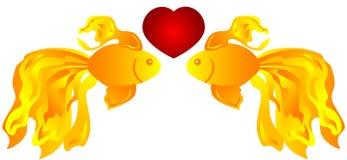 Peixes no amor Imagens de Stock Royalty Free