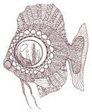 Peixes no estilo do zentangle ilustração do vetor