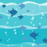 Peixes no teste padrão sem emenda da onda ilustração stock