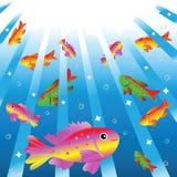 Peixes pequenos heterogéneos na água. ilustração stock