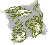 Peixes predatórios e flamas - jogo 1. ilustração royalty free