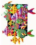 Peixes projetados exagerados múltiplos Imagem de Stock Royalty Free