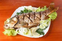 Peixes Roasted da carpa com vegetais inteiramente Refeição tradicional do Natal fotografia de stock