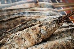 Peixes salgados frescos na grade Foto de Stock